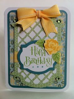 Courtney Lane Designs: Happy birthday yellow rose card! made with Cricut Creative Cards cartridge