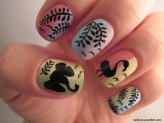 elephant, leaves, nature, nails, trees, flamingo, nail art