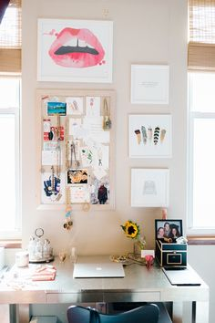 framed linen pinboard above desk