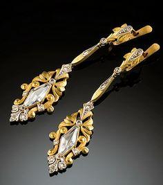 Art Deco sapphire, diamond gold earrings  Art Deco colourless sapphire, rose cut diamonds, gilded 15 ct. rose gold earrings.