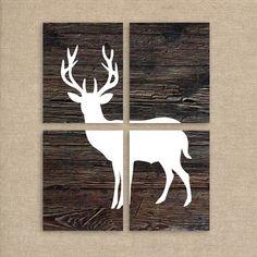 Deer Art, Deer Prints, Wood Background, Set of Four 8x10 Prints, Deer Silhouette, Rustic Home Decor