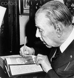 Jorge Luis Borges: Tres prólogos (Arreola, Schwob, Cortázar) - JLB Autographs Book by Rodolfo Rivera, Bs.As. 1984 © Bettmann Corbis - http://borgestodoelanio.blogspot.com/2014/08/jorge-luis-borges-tres-prologos-arreola.html