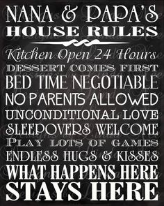 House Rules - Printable Nana and Papa's House Rules -Subway Art Wall Printable- You choose one size - 4x6, 5x5, 5x7, 8x8, 8x10, 10x13, 11x14, 12x12, 16x20.