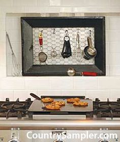 What a cute idea for a farmhouse-style kitchen utensil holder? Staple chicken wire to a wooden frame and hang above your counter.