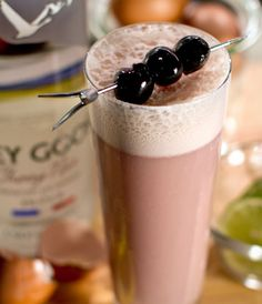 GREY GOOSE® CHERRY NOIR LA NOIR FIZZ: A creamy and luscious concoction, crafted with GREY GOOSE® Cherry Noir Flavored Vodka, fresh citrus, cream, vanilla and muddled cherries.