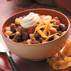 Hearty Taco Chili Recipe from Taste of Home -- Submitted by Julie Neuhalfen, Glenwood, Iowa