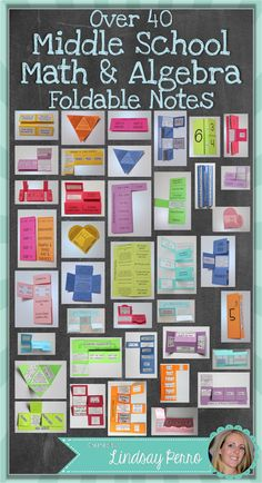 This HUGE collection of 40 foldables will breathe some life back into notes on many Middle School #Math concepts.  Each foldable includes directions and pictures, as well as a variety of options for you when it comes to how complete you want the foldables to be.