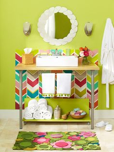 Vanity from Desk - This would be such a cute bathroom for a kids' bathroom!