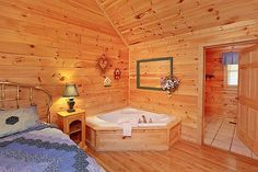 Ma and Pa's Place is a cabin rental in Pigeon Forge, TN.  This country cabin is within one mile or a short bike ride of downtown Pigeon Forge and Dollywood. Guests can relax in the hot tub on the back porch with a view of the Smokies.  Other amenities include comfortable rockers on the porch, king size bed and a Jacuzzi tub in the master suite, sleeper sofa, gas fireplace, dishwasher, washer & dryer and a hot tub on the back porch.