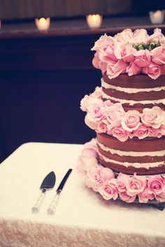 naked layer cake with fresh flowers