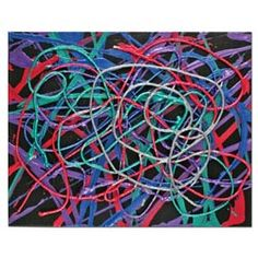 United Art and Education Art Project:  Use string to create a striking metallic painting!