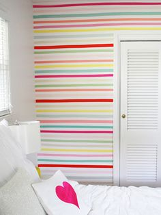 Decorating With Washi Tape In Kids' Rooms | House & Home color, kid rooms, striped walls, hous, decorating with washi tape, stripe wall, rainbow kids room, furniture with washi tape, washi tape kids rooms