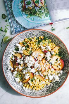 Green Rice Salad with Nectarine and Corn