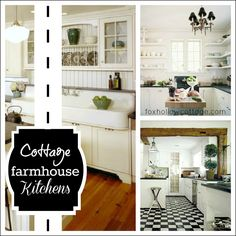 DIY Decor ::Cottage  Kitchens inspiring in WHITE !! These are Beautiful!