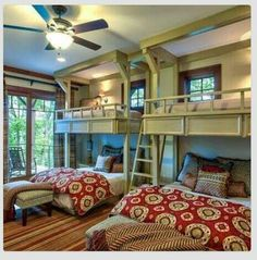 Bunk beds in guest room. This is what my mom and dad need to do for cousins' camp someday!