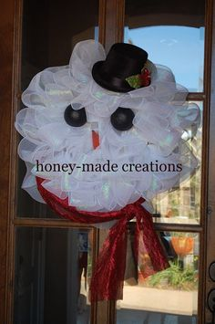 Frosty The Snowman Wreath by HoneyMadeCreations on Etsy
