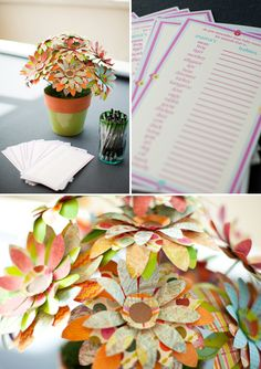 the game, name games, baby shower ideas, supper, paper flowers