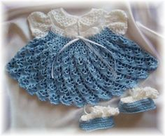 "010 ""Bluebells"" Baby Dress Booties Crochet Pattern by Rebecca Leigh 6M 12M 