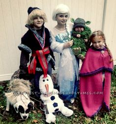 Family Frozen Costumes with Grand Kids and Grand Dog... Coolest Halloween Costume Contest
