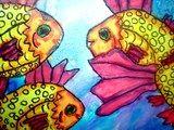 Watercolor School of Fish