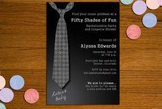 50 Shades of Grey Printable Invitation - Bachelorette Party, Lingerie Shower. $15.00, via Etsy.