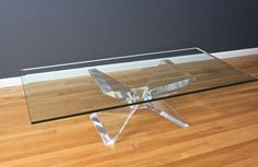 Lucite & glass butterfly coffee table