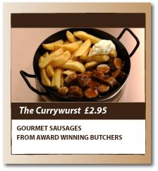 OK, this is one of our very own suggestions........ Currywurst is a German national dish invented in 1949 in Berlin.  The currywurst is a bratwurst sausage chopped into bite size pieces, covered with a warm, thick curry sauce and dusted with a secret 'golden powder' (you can use madras or korma powder at home).  We like it served best with crispy chips and a dab of German mustard.  If Carlsberg did sausage recipes, this would be the one!  www.the-bratwurst.com.