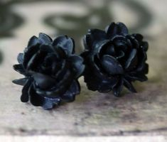 Black Rose Earrings  Gothic Lolita by robinhoodcouture on Etsy, $18.00