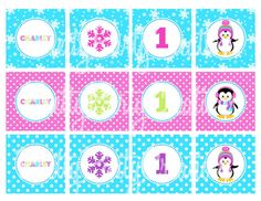 GIRLY penguin cupcake toppers  U PRINT by PrettyPartyCreations