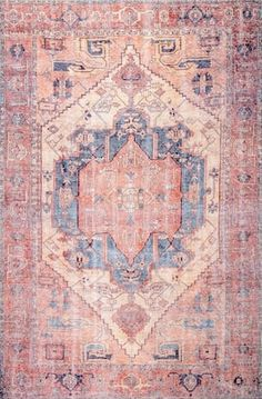 Rugs USA Peach Canton Timeworn Medallion Printed rug - Transitional Rectangle 9' x 12'