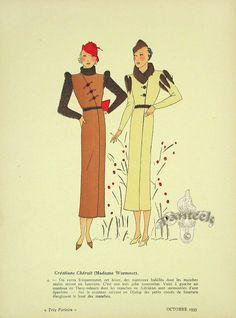 Très Parisien Fashion Print, October 1935, Chéruit (Madame Wormser)