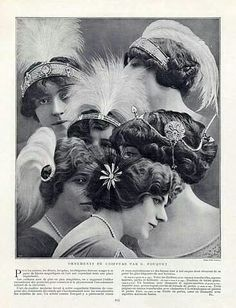 Advertisement for various Fouquet hair ornaments, tiaras, and aigrettes.