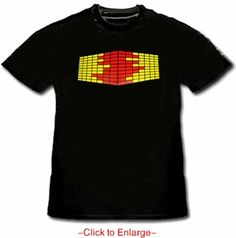 Amazing 4D Sound Equalizer Illuminating T-Shirt. With the combination of micro lighting technology in to this special clothing You are now the lightshow! This interactive 4D Equalizer shirts goes beyond the tradition of hand held club toys. Price $24.99