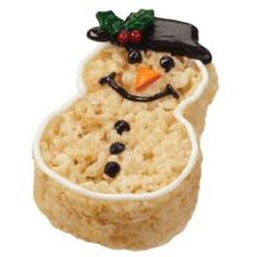 Crisped rice cereal #snowman , an unusual  #Christmas breakfast