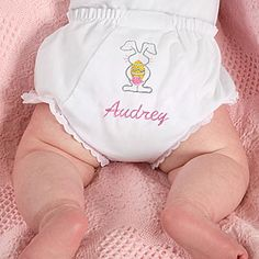 OMG This is TOO CUTE! Cute Easter Bunny Diaper Cover that you can have embroidered with any name (for free) for just $16.95! ... perfect for baby's first Easter! #Easter #EasterOutfit #EasterBunny