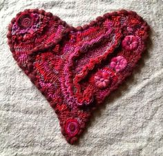 Ali Strebel's heart using several different techniques with the wool.