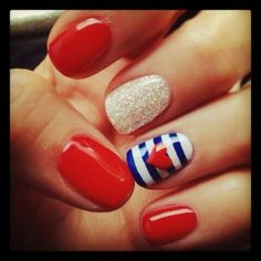 Red nails with accent blue and white heart USA & glitter accent    #USA #SocialblissStyle juli nail, holiday nails, 4th of july nails shellac, red nails, disney nails, nail ideas, red blue nails, sailor style, nautical nails