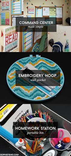 Command Center | Embroidery Hoop Wall Pocket | Homework Station Bin  #backtoschool