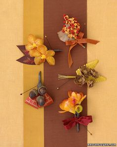 Autumnal colors for fall weddings for boutonnieres :D