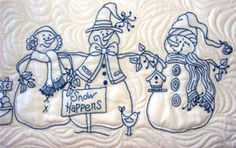 Snow Happens Tablerunner Pattern by Bird Brain Designs at KayeWood.com. A Line-Up of 5 Smiling Snowmen Pose as They Wait for the Snow to Fly! A Fun BlueWork or RedWork Table Runner to Decorate Your Home for the Holidays and ALL Throughout Winter.  http://www.kayewood.com/item/Snow_Happens_Tablerunner_Pattern/3712 $10.00