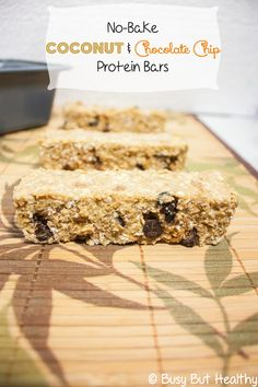 No-Bake Coconut Chocolate Chip Protein Bars