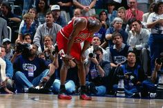 Michael Jordan #23 of the Chicago Bulls rests during Game Five of the 1997 NBA Finals played against the Utah Jazz on June 11, 1997 at the Delta Center in Salt Lake City, Utah. The Chicago Bulls defeated the Utah Jazz 90-88. (Nathaniel S. Butler/NBAE via Getty Images)