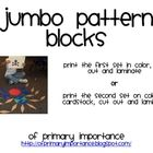These jumbo pattern blocks can be used in all of the same ways that traditional pattern blocks are used, but bigger is so much more fun!  Two set...
