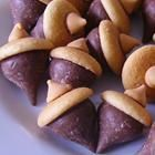 Acorn cookies, perfect for fall with herseys kisses, vanilla waffers, and a butterscotch drop held together with peanut butter.