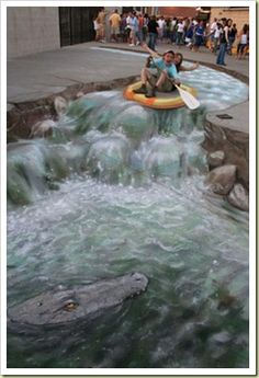 Amazing 3D Sidewalk Art | Village Of Joy  water rafting!!!!