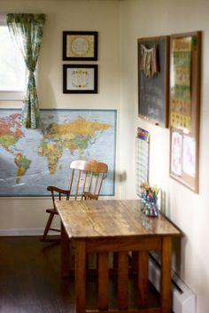 Pretty, cheery homeschool room inspiration.
