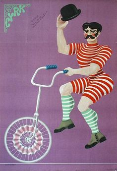 Hubert Hilscher - 1970 Vintage Polish Circus Poster Art (Man with a handlebar mustache on Unicycle)