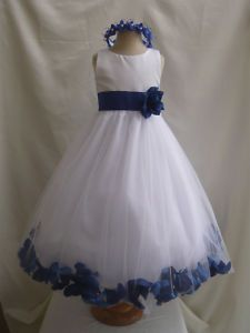 flower girl dress royal blue wedding