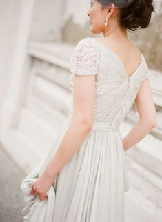 Love the beaded cap sleeves and gathered details. Flattering natural waist and a slim-ish silhouette that hides a few bits and bumps if necessary.