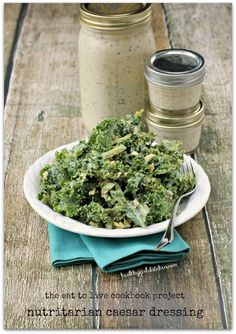 Nutritarian Caesar Dressing in Eat for Health 2012 edition, p. 289 and in The Eat to Live Cookbook; review healthygirlskitchen